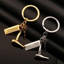 Outils de bijoux créatifs sèche-cheveux/ciseaux/peigne pendentifs porte-clé salon de coiffure coiffeur présent porte-clés ornements