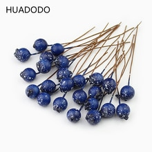 HUADODO 50pcs BlueBerry Artificial Stamen Flowers Artificial Berries for Scrapbooking DIY wreath Decoration
