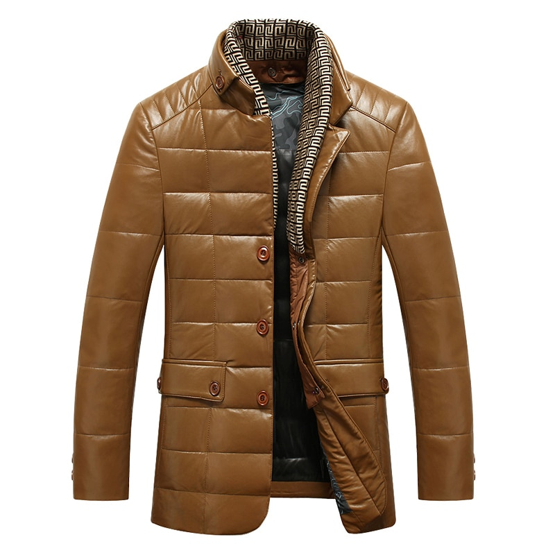 Chaqueta de piel sintética para hombre, bufanda removible, diseño de cuello, piel fina, plumón de pato blanco, chaquetas, envío gratis