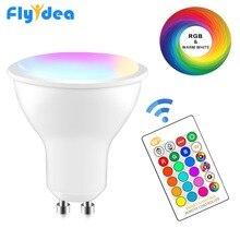 GU10 magique LED spot lumineux 8W RGB + blanc ampoule intelligente Dimmable + IR contrôle 16 couleur chambre décoration couleur changeante lampe 220V 110V
