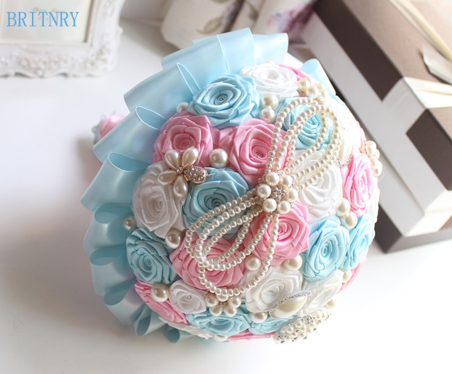 BRITNRY رائع كريستال الزفاف باقة اليدوية الحرير الورود بروش باقة الأزرق مع الوردي وصيفه الشرف باقة صور حقيقية