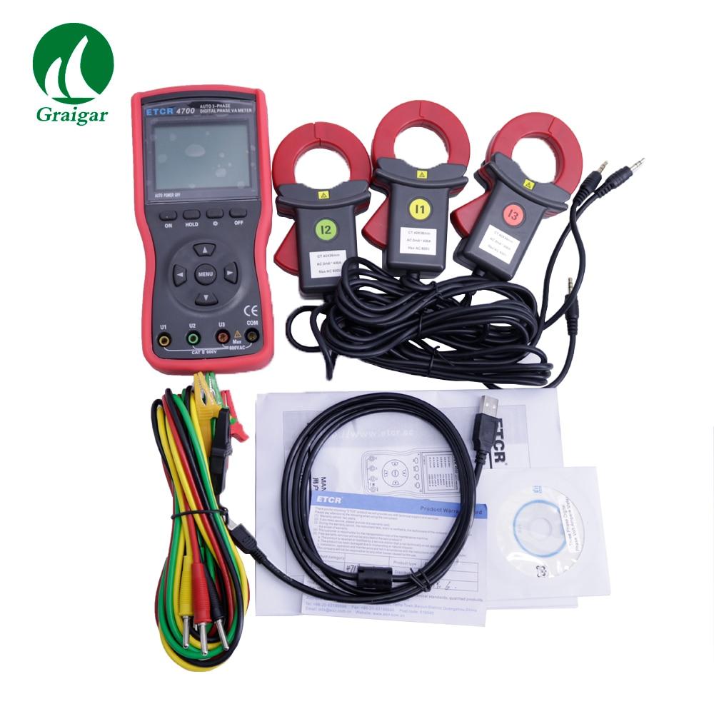 ETCR4700 medidor de voltímetro de fase Digital de tres fases de alta precisión para medir voltaje de CA y corriente de CA