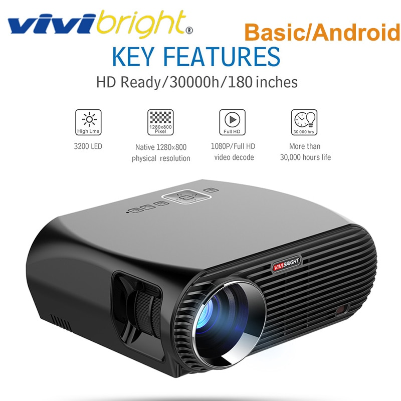 Original VIVIBRIGHT GP100 3200 Lumens proyector 1GB + 8GB Amlogic S905X MSTAR V69 Android 6,0 HD 1080P proyector LCD con altavoz