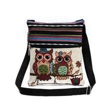 Mode ethnique Style femmes sacs de messager double zippé dessin animé hibou brodé Shopping rencontres dames filles sac à bandoulière Bolsa