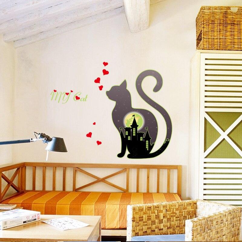 Светящийся мой кот город стикер на стены любовь светится в темноте спальня гостиная домашний Декор виниловые наклейки на стены флуоресцентные наклейки