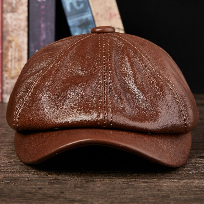 Men's Visors Hats Cowboy Genuine Leather Hat Cap Adult Autumn Winter Warm Hats Students Fashion Tongue Octagonal Hat B-8807