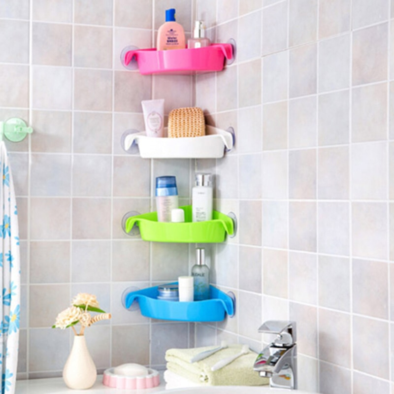 4 Colors Bathroom Corner Storage Rack Organizer Shower Wall Shelf with Suction Cup Home Corner Kitchen Bathroom Shelves mx227171