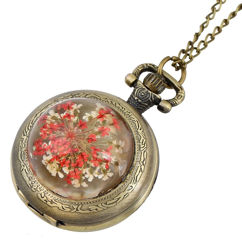 Reloj de bolsillo de cristal de platino Gnova para mujer Vintage flor Real Retro antiguo collar de diamantes de imitación de moda reloj de cuarzo superior A862
