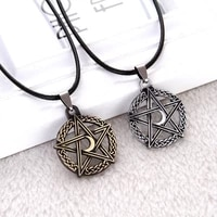 pentagram necklace tree of life moon pendant necklace women crescent rope chain goddess magic amulet statement necklace jewelry