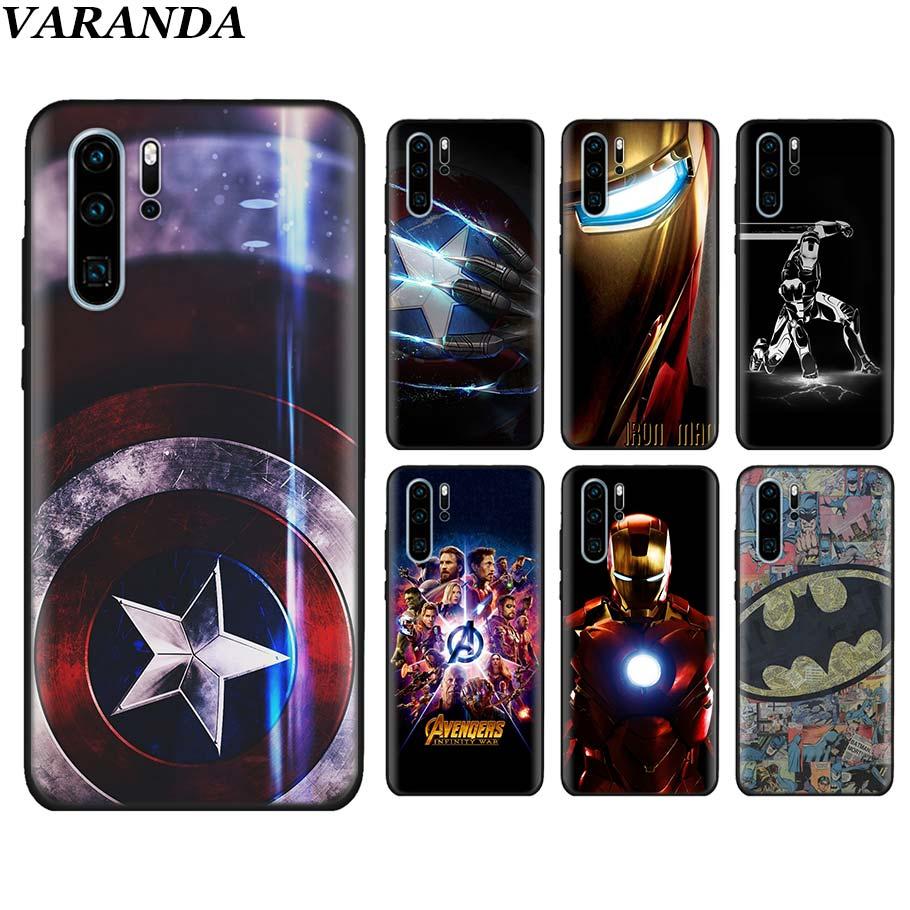 Funda de silicona Marvel Avengers capitán Ironman superhéroes negro suave para Huawei P40 P30 Pro P10 P20 Lite P Smart Pro 2019