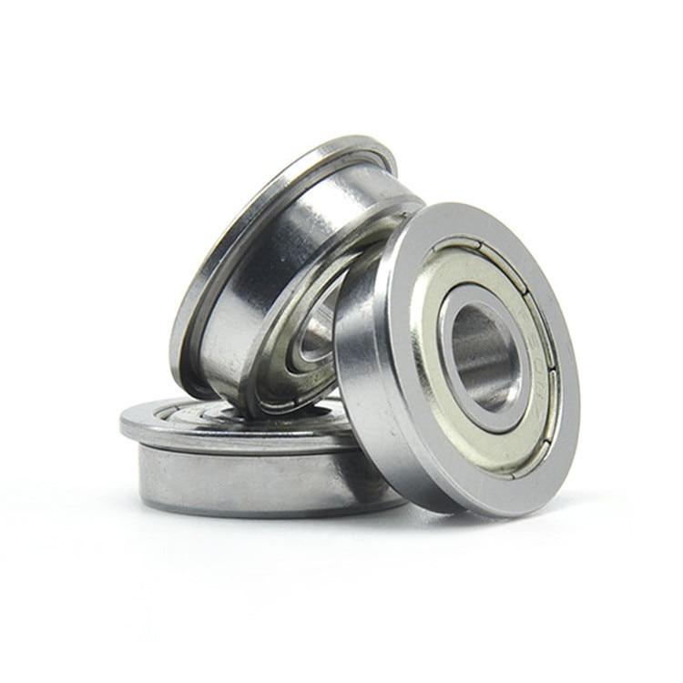 100pcs  F604ZZ  Flanged bearing  F604-2Z miniature shielded  flange deep groove ball bearings 4*12*4 mm