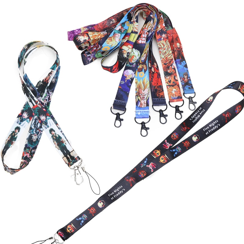 45cm My Hero Academia Lanyard Dragon Ball Z FNAF Phone Lanyards for Men Son Goku Phone Holder Neck Strap Keychain Toys