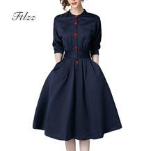 Neue Frühling Herbst Vintage Kleider Frauen Slim 3/4 Hülse EINE Linie Büro Tragen Kleid Elegante Laides Ol Arbeit Business Kleider