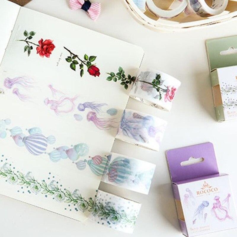 Tema Rococó Washi cinta decorativa DIY decoración planificadores cinta adhesiva para álbum de recortes etiqueta pegatina papelería