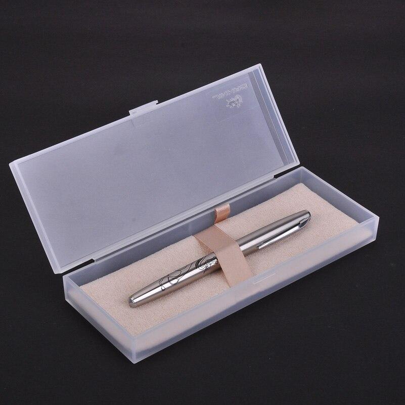 Jinhao 911 pluma estilográfica de dragón de alta calidad bolígrafos de tinta de Metal de acero plateado con 0,38mm Punta fina Extra para finanzas con caja de regalo