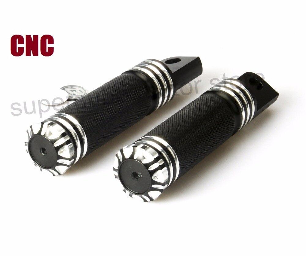 Superficies moleteadas para motocicletas reposapiés clavijas para Harley Touring Sportster Softail Dyna negro