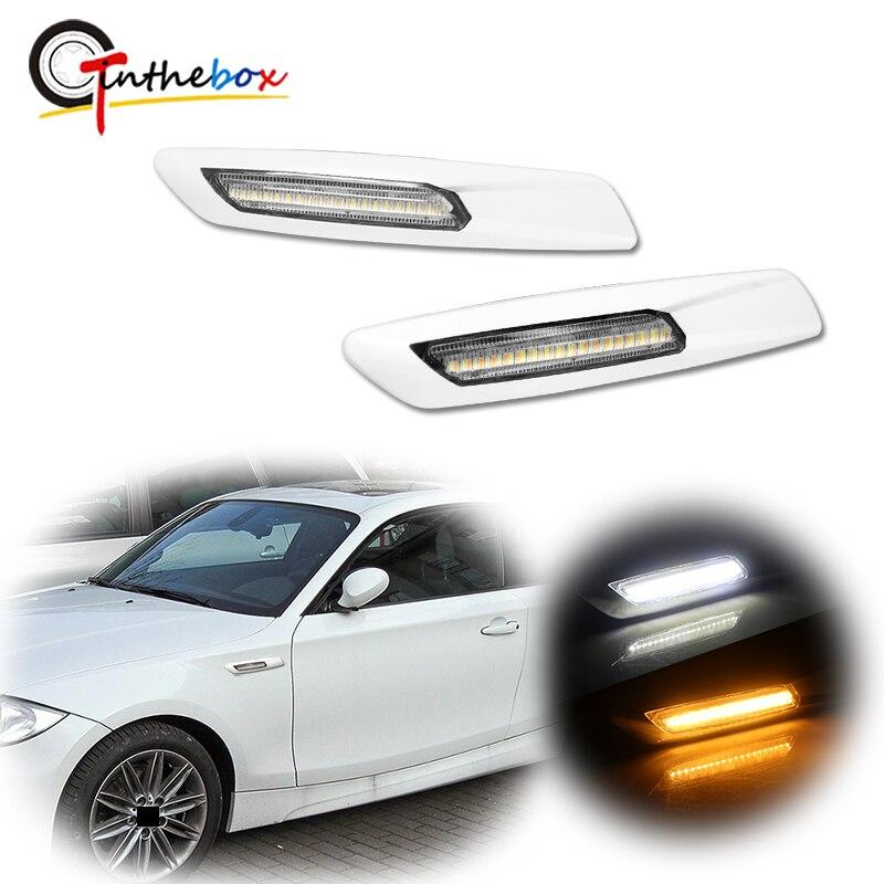 Gtinthebox blanco Switchback Full LED luz lateral para BMW 1 3 5 Series X1, con estilo BMW F10, reemplaza las lámparas laterales OEM