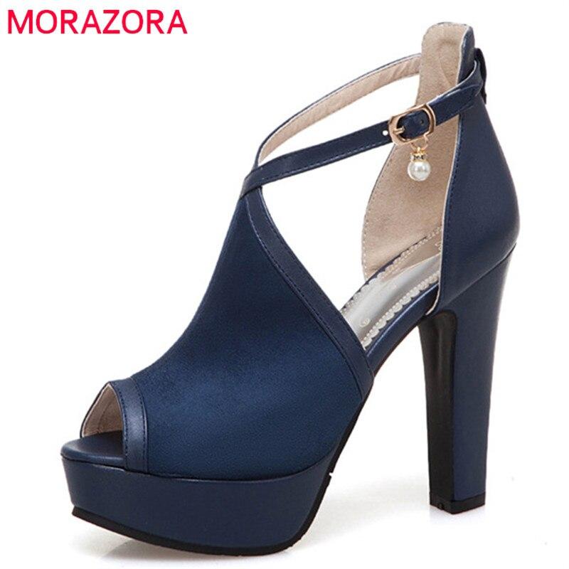 MORAZORA 2019 new arrival women sandals peep toe summer high heels platform shoes buckle fashion elegant party prom shoes woman