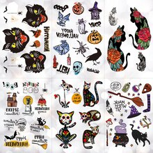 Halloween citrouille magique licorne imperméable temporaire tatouage autocollant crâne chats noir corbeau Flash tatouages corps Art bras faux Tatoo