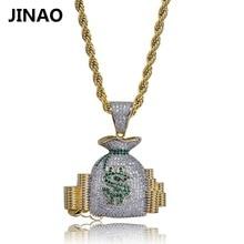 JINAO argent sacs US Dollors charmes pendentifs et colliers pour hommes femmes Hip Hop mode bijoux Zircons entièrement pavé brillant bijoux