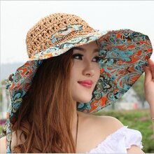Chapeaux de pêche en paille pour femmes   Chapeau floqué, ajouré, respirant, seau, String, à large bord, chapeaux de Protection solaire pour plage, été 2019