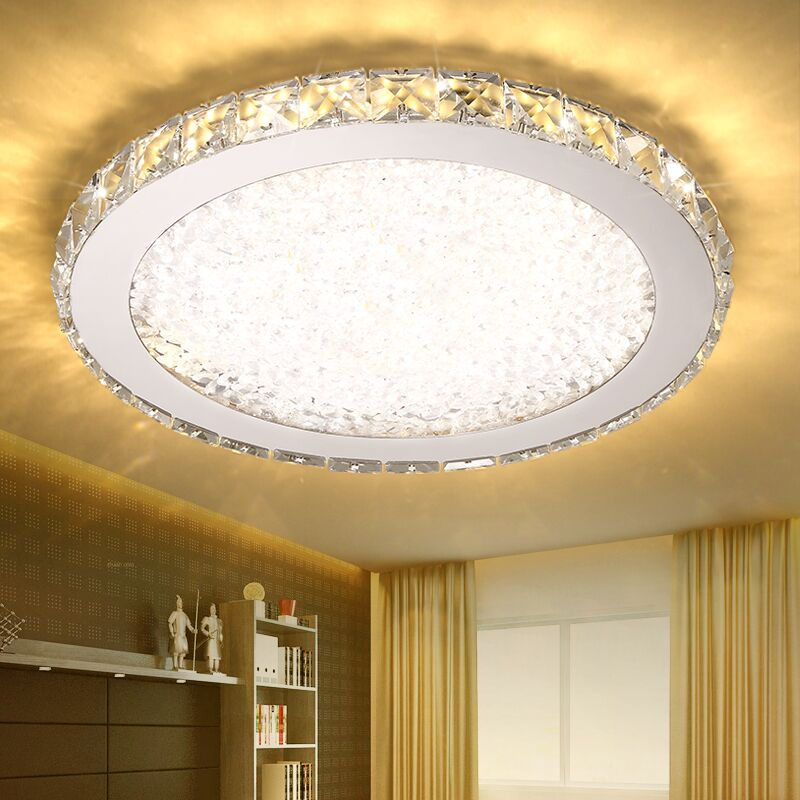Modern fashion stainless steel led k9 crystal ceiling lights fixture home deco creative restaurant dimming round ceiling lamp modern k9 crystal ceiling lights fixture led light golden round crystal ceiling lamp indoor lighting dia 40cm 60cm 80cm 100cm