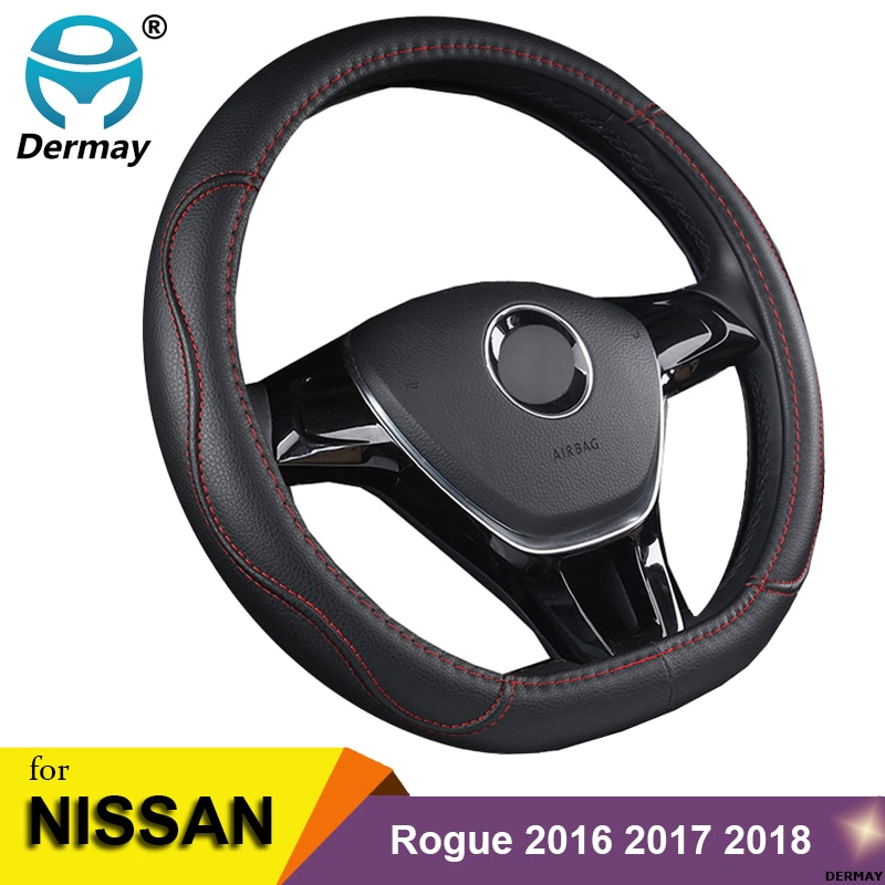 D Shape Steering Wheel Cover PU Leather for Nissan Rogue /Rogue Sport 2016 2017 2018 2019 2020 X-Trail 2017-2020 Car Styling