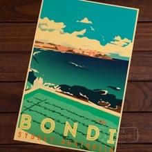 Bondi Sydney Australië Pop Art Kaart Poster Classic Vintage Retro Kraft Decoratieve Kaarten Muur Canvas Sticker Reizen Posters Decor G