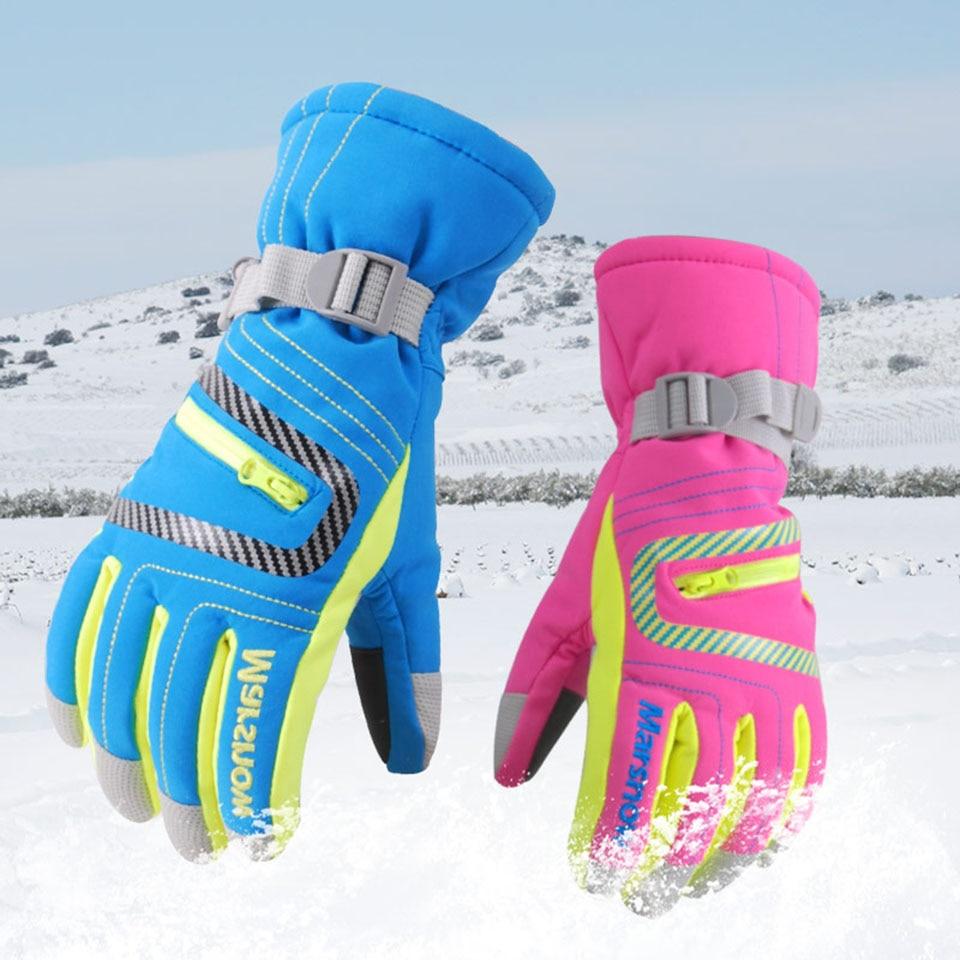 Профессиональные лыжные перчатки Marsnow, водонепроницаемые теплые зимние перчатки для мальчиков и девочек, детские ветрозащитные перчатки для катания на лыжах и сноуборде