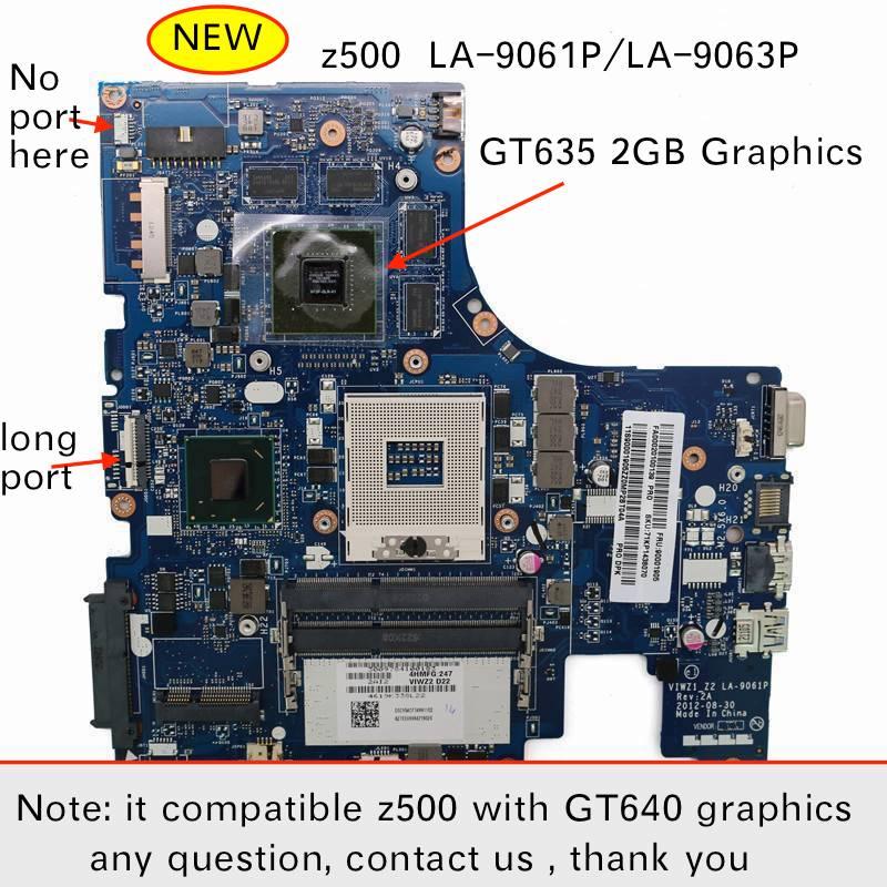 Original nuevo LA-9063P LA-9061P para Lenovo Z500 pc portátil Placa base con GT635M tarjeta de vídeo de 2 GB