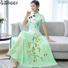 2019 zwei Stück Cheongsam Chinesischen Kleid Elegante Vintage Floral Drucken Moderne Cheongsam Frauen Täglich Qipao Kleid Traditionelle Kleidung