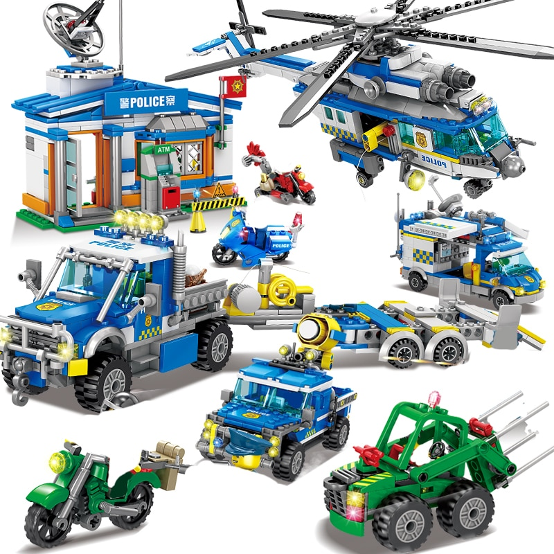 qunlong military helicopter building blocks toy compatible legoe city police swat toy for boy compatible lepin starwars figure City Police Station Building Blocks City SWAT Model Block DIY Police Helicopter Figure Bricks Toys Gifts