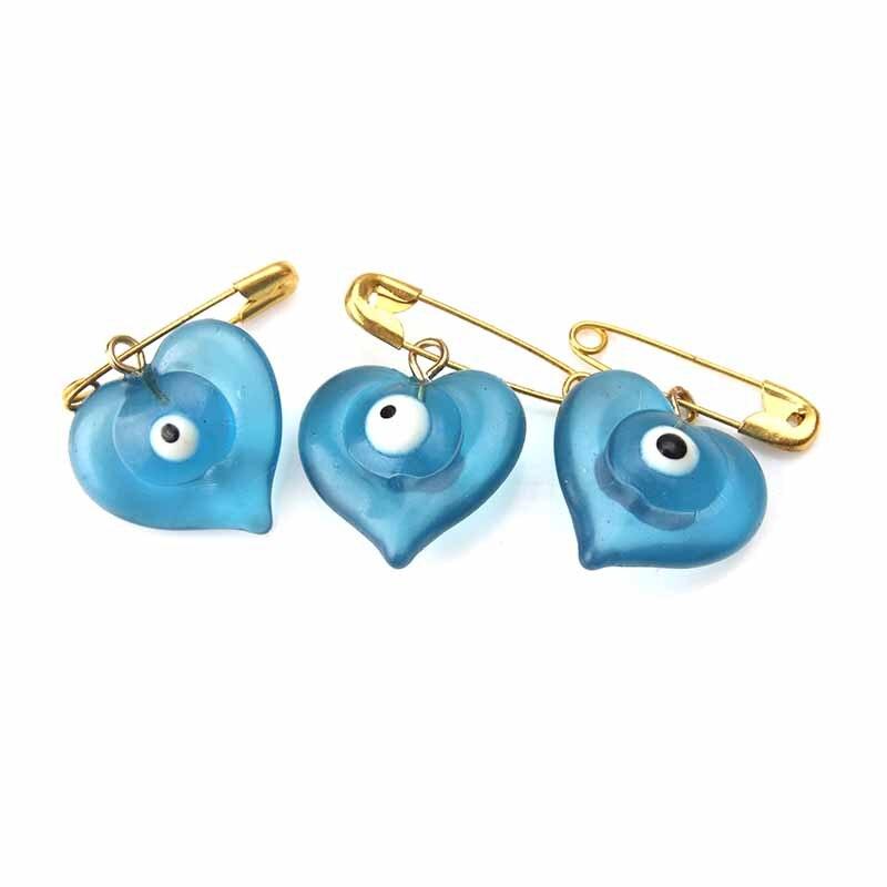 5pcs/lot 18*22mm Blue Evil Eye Heart Brooch & Pin For Women Brooch Pins Button Jacket Collar Lapel Pins Badge evil eye Jewelry