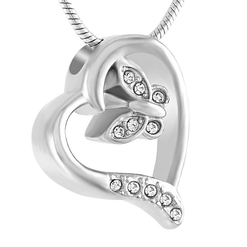 Urne collier pour cendres cristal petit papillon en coeur crémation bijoux cendrier en acier inoxydable souvenir pendentif bijoux