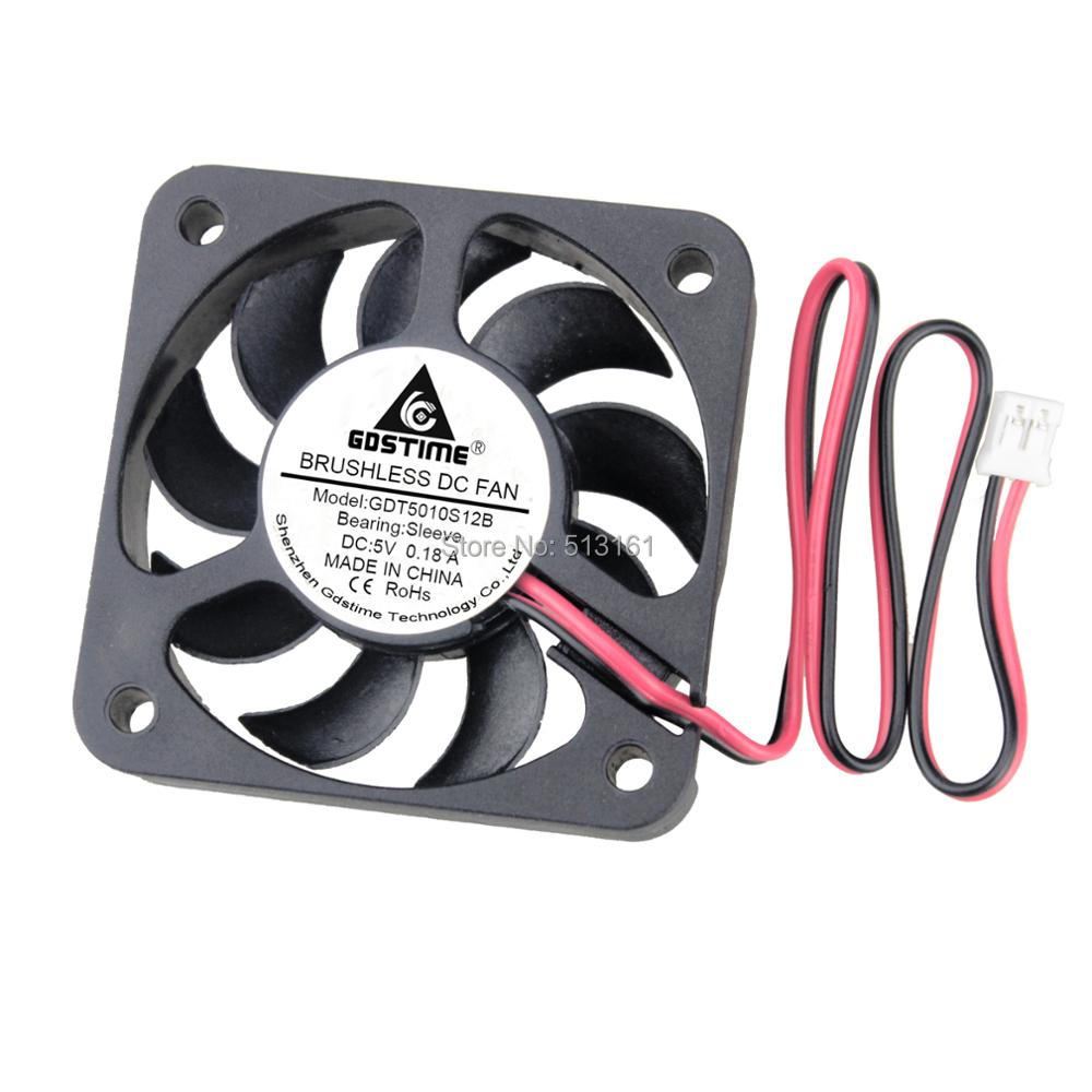 5PCS/Lot Gdstime 5010S 5V 9Blades 50mm 5cm Brushless Cooling Fan 50mmx50mmx10mm Cooling Heatsink