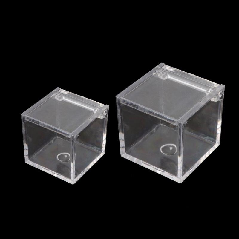 12pçs acrílico transparente 5 lados caixa de armazenamento quadrada caixa de exibição adereços cubo quadrado caixa