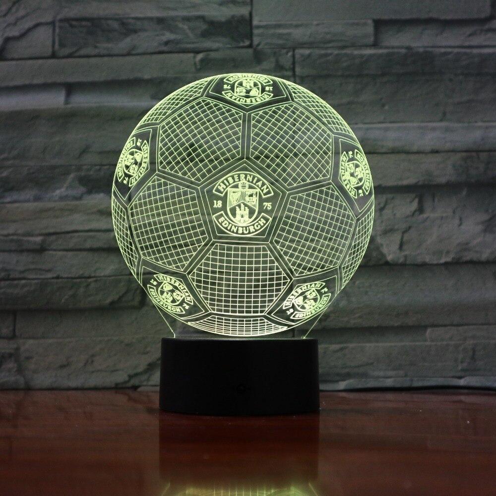 Luz 3D USB Lámpara de mesa de escritorio LED Fútbol 7 cambio de color Interruptor táctil luz decoración del hogar GX847 Drop Shipping negocios