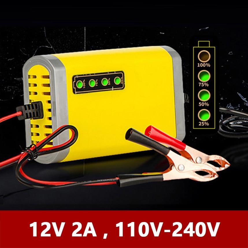 12 V 2A cargador de batería automático inteligente para motocicleta de coche 12 voltios plomo-ácido AGM GEL Auto baterías con abrazadera de pantalla LED 2000ma