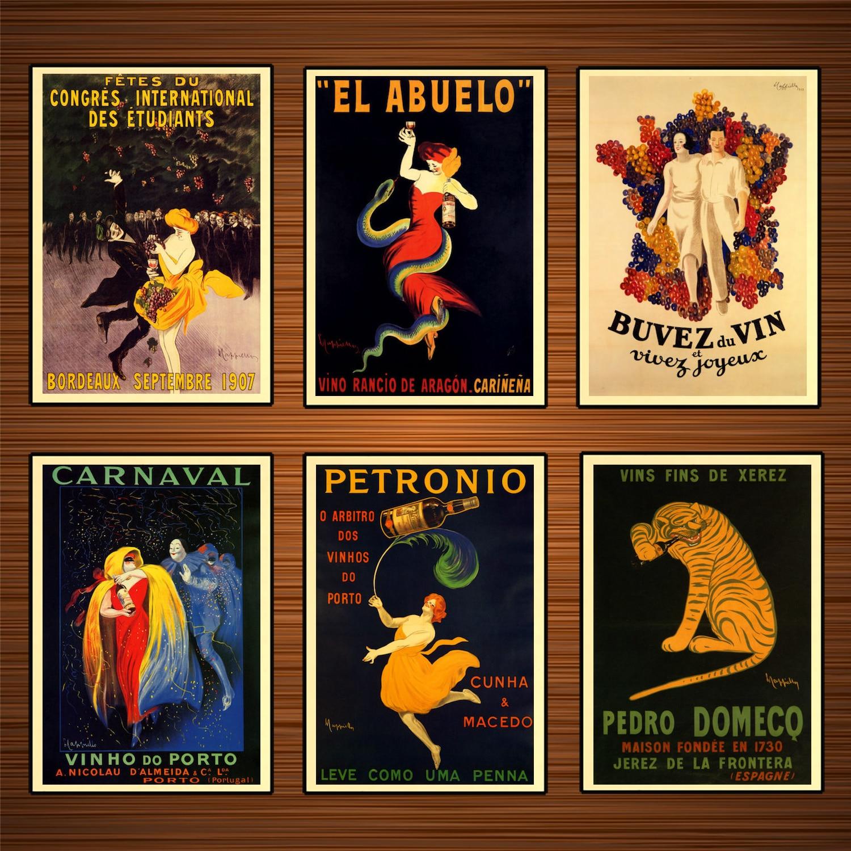 Cartel de vino de bebidas alcohólicas Vintage, pinturas de lienzo clásicas de Carnaval portugués, pósteres de pared, pegatinas para decoración del hogar, regalo