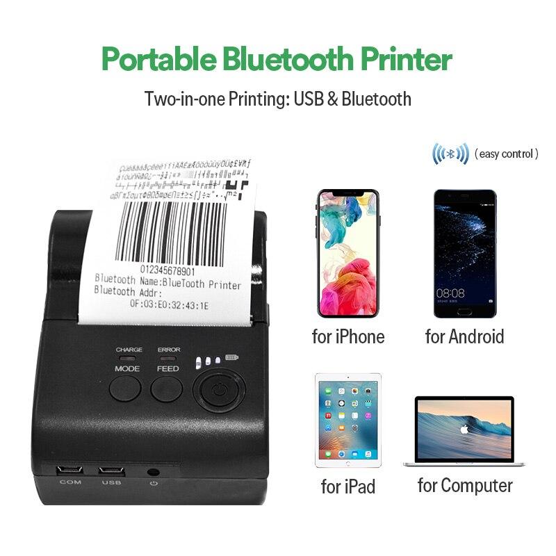Impresora térmica de tickets ZJiang Bluetooth + USB 58mm POS-5801DD impresora de código de barras de tickets de recibo compatible con IOS/Android/Windows