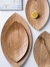 Assiettes à Sushi en bois naturel   Assiette à Desserts de Style japonais, forme de feuille créative assiette à Sushi en bois naturel, planche à pain, assiette de service pour le petit déjeuner plateau à thé
