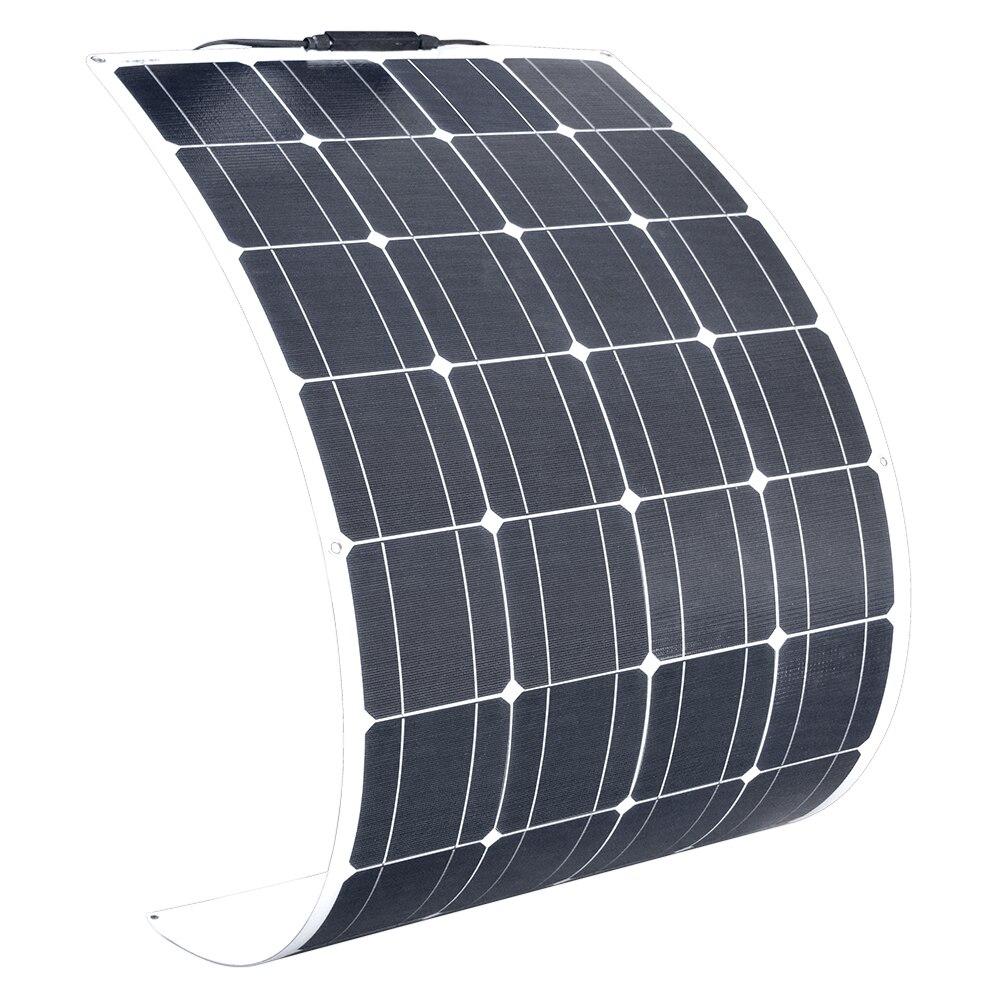 Panneau solaire Flexible plaque 120W 18V chargeur solaire pour batterie de voiture 12V cellules de silicium monocristallin Module Kit ETFE panneaux solaires