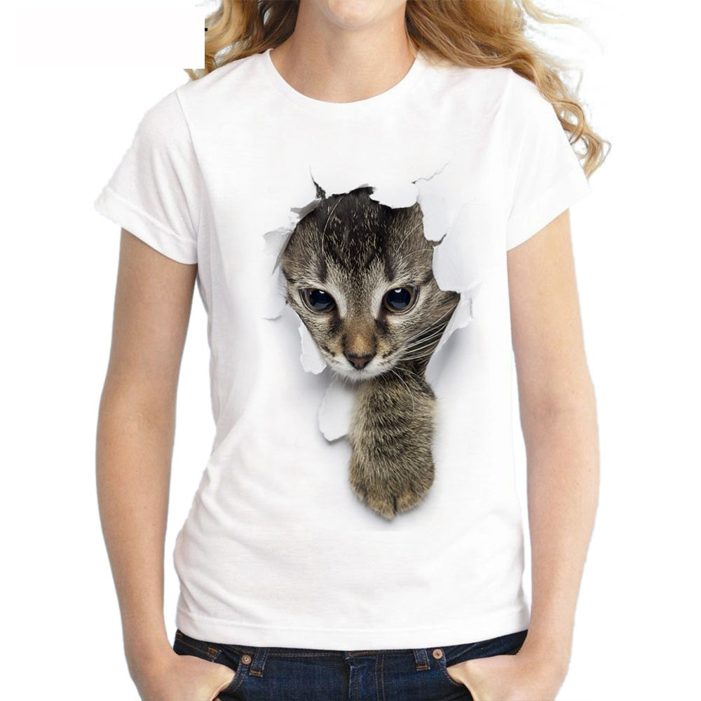 S-3XL 2019 Women 3D cat Dog Print White Soft Casual Lady T-Shirt Summer Short sleeve Casual Round neck Cheap Clothes Top Femme  - buy with discount