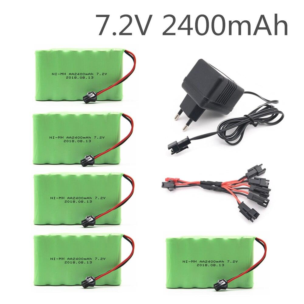 Batería AA NI-MH de 7,2 v, 2400 mah, con cargador, batería de alta capacidad, juguete eléctrico, coche remoto, barco robot recargable, 7,2 v, 2400 mah