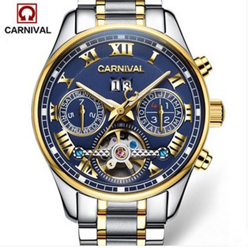 Carnival tourbillon automatic mechanical luxury brand watches men military sport genuine leather waterproof men watch relogio