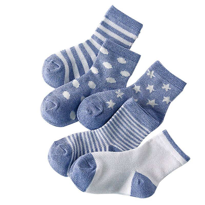 5 pares = 10 unids/lote de calcetines de bebé de malla de verano Neonatal de algodón de lunares de rayas lisas niños niñas NIÑOS Calcetines para 1-10 años