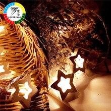 Coversage 10 en bois étoile Led batterie arbre de noël guirlande chaîne décoration de noël extérieur intérieur rideau fée vacances lumières