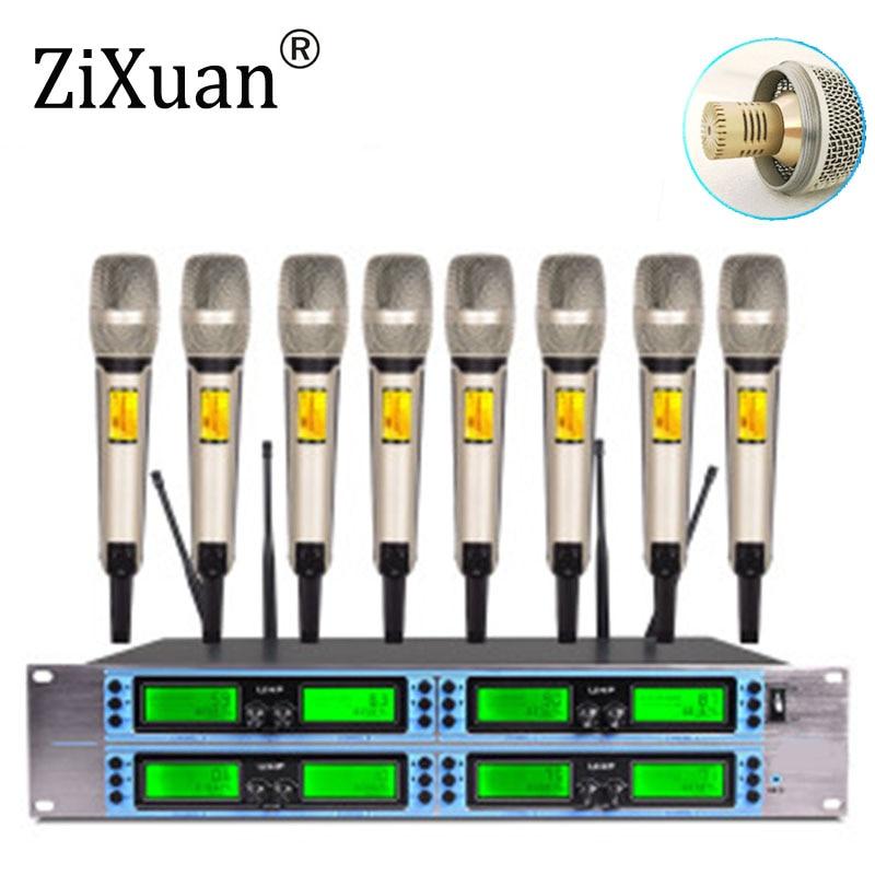Sistema de micrófono Inalámbrico UHF condensador 4/8 canal micrófono dinámico en forma de corazón para boda karaoke estudio control remoto