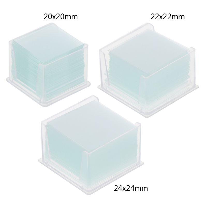 100 Pcs Transparent Square Glass Slides Coverslips Coverslides For Microscope Optical Instrument Mic
