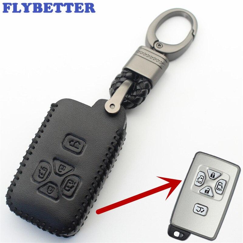 FLYBETTER llavero cuero botón 5 llave inteligente para Toyota Reiz/Avalon/placenta Previa/Alphard/Prius coche estilo (B) L329